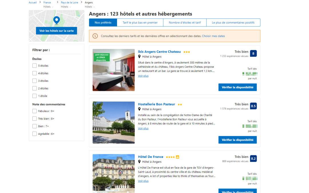 Découvrez les meilleurs hôtels où séjourner dans la ville d'Angers